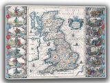 Speed, John: Map of the British Isles (Britannia). Antique/Vintage 17th Century Map. Fine Art Canvas. Sizes: A4/A3/A2/A1 (003883)